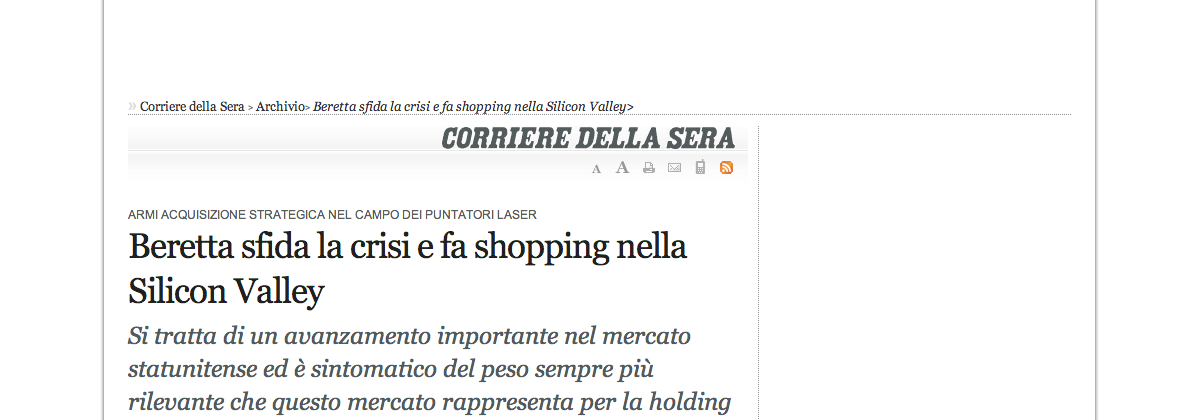 Beretta sfida la crisi e fa shopping nella Silicon Valley